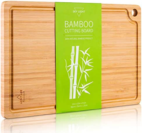 SKY LIGHT Cutting Board Organic Pre Oiled Bamboo Chopping Board with Juice Groove for Meat Cheese product image