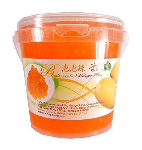 Bolle Popping Boba Pearls Bubble Tea, Ice Cream or Yogurt Topping 42.3 Oz. (Mango)