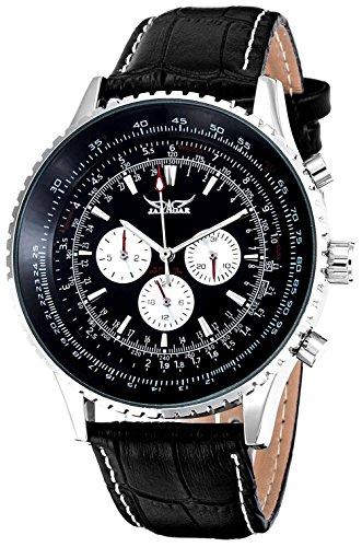 Men's Cool Fashion Automatic Mechanical Wristwatch Black Dial Day&Date Luminous Hands Movement (Black)