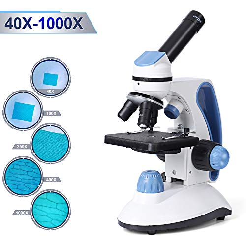 Abdtech Microscope for Kids Students Adults: 40X-1000X Beginner Microscope for School Home with Dual Illumination Coarse Fine Focusing Specimens Slides Accessory Kit Compound Electron Microscopes