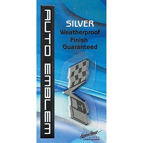 Checkered Racing Flag Christian Bible Cross Small Weatherproof Auto Emblem - Silver