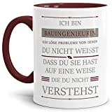 Tassendruck Berufe-Tasse Ich Bin Bauingenieurin, ich löse Probleme, die du Nicht verstehst Innen und Henkel Weinrot/Für Sie/Job/mit Spruch/Kollegen/Arbeit/Geschenk