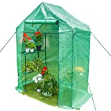 """Sundale Outdoor Portable Gardening 2 Tier 4 Shelf Steeple Green House with PE Cover, Waterproof Walk in Plant Green House, 56.5""""(L) x 29""""(W) x 75.5""""(H)"""