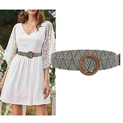 Cinturón de rafia de paja para mujer, hecho a mano, elástico, elástico, con hebilla de madera, para vestido de verano, falda corta, estilo bohemio, estilo hobo