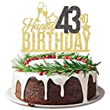 Happy 43rd Birthday Cake Topper - Forty three-year-old Cake Topper, 43rd Birthday Cake Decoration, 43rd Birthday Party Decoration (Gold and Black)