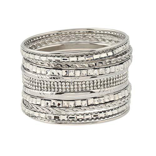 Drawihi Damenarmband Armreif Armbänder Festival Geschenk Gib ein Geschenk Diamant-Design Einstellbare Größe Indischer Stil(Silber)