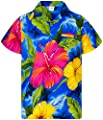 King Kameha Hawaiian Shirt for Men Funky Casual Button Down Very Loud Shortsleeve Unisex Big Flower
