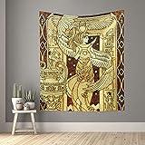 Tapiz vintage antiguo Egipto diosa tapices pequeños de pared para dormitorio, sala de estar, ventana, separador de habitación 152,4 x 129,5 cm