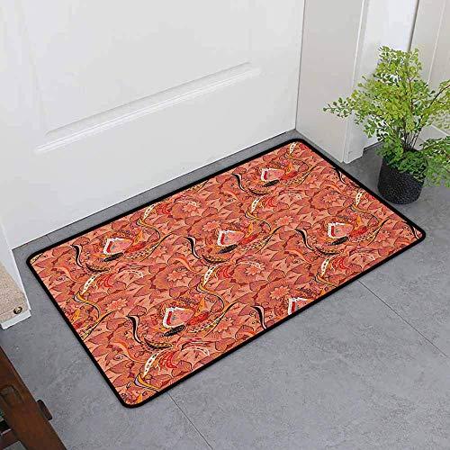 Tapis de bain imprimé, arrangement de fleurs dessiné à la main, couleurs vives Nature, style de dessin abstrait, tapis de pied anti-dérapant lavable en machine, tapis de bain noir pêche orange