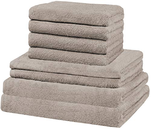 GREEN MARK Textilien 8 TLG. Handtuch-Set versch. Größen, 2X Handtücher, 2X Duschtücher, 4X Gästetücher | 100% Baumwolle | solide Qualität, Farbe: Sand/Beige