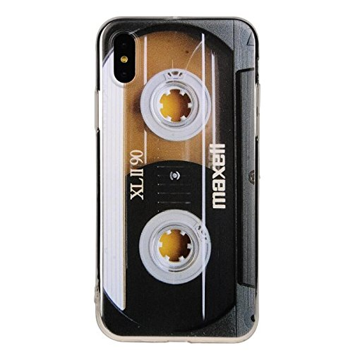 TNCY Bumper Soft TPU Music Cassette Tape Retro 80's Type Amazing Back Cover Phone Case Compatible with iPhone Xs (2018) iPhone X (2017)