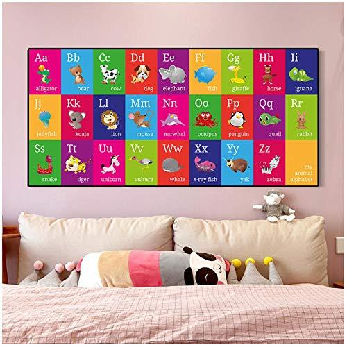 DLFALG Abc Alphabet Animal Poster Arte de la pared Impresión en lienzo Pintura Niños Educación en inglés Bebé Aprendizaje temprano Niños Dormitorio Arte Decoración-50x100cm Sin marco