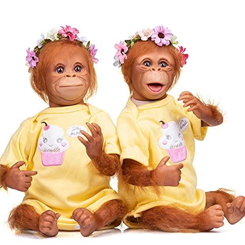 YIHANGG 45CM Reborn Baby Doll Orangutans Linda Muñeca Pintura Detallada Hecha A Mano Tamaño del Prematuro Negro Mono Muñeca De Arte Coleccionable,Twin