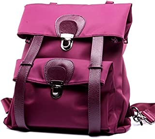 Leather 2018 New Ladies Backpack Fashion Waterproof Oxford with Leather Ladies Wallet Waterproof (Color : Purple, Size : M)