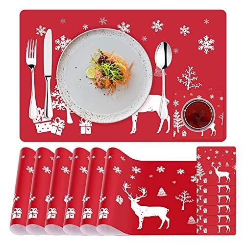 Sunshine smile 6 Sätze Platz-Matten und Telleruntersetzer,Weihnachten Tischset,Platz-Matten für Küche Speisetisch,Weihnachten Tischdekoration
