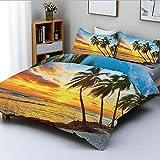 Juego de funda nórdica, Hada puesta de sol sobre el mar con las palmeras en la playa en una isla caribeña en Barbados Horizon Juego de cama decorativo de 3 piezas con 2 fundas de almohada, Multi, Mejo