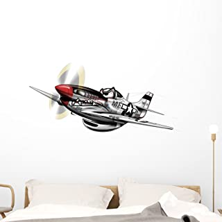 Wallmonkeys P-51 Mustang WWII Airplane Wall Decal Peel and Stick Decals for Boys (48 in W x 33 in H) WM99278