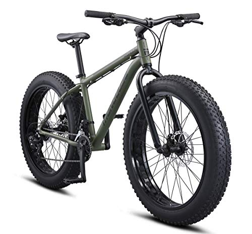 Mongoose Argus Trail Adult Fat Tire Mountain Bike, 26-Inch Wheels, Medium 18-Inch Aluminum Hardtail Frame, Mechanical Disc Brakes, 2x8 Drivetrain, Rapid Fire Shifters, Green