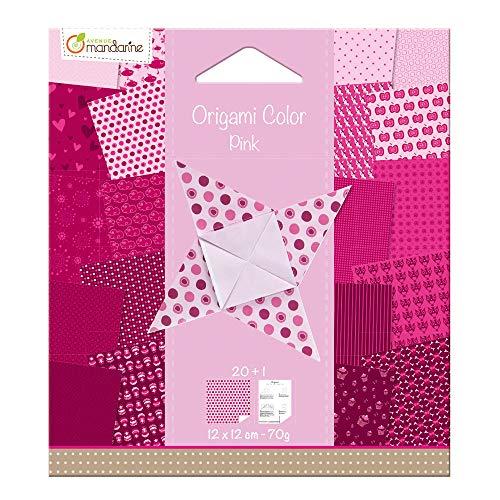 Avenue Mandarine 42683O Origami color Papier (quadratisch, 12 x 12 cm, mit Faltanleitung, 20 verschiedenen Blätter) rosa