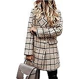 Katenyl Abrigo de longitud media de doble botonadura con estampado a cuadros para mujer Chaqueta de solapa ajustada y transpirable cómoda y cómoda XXL