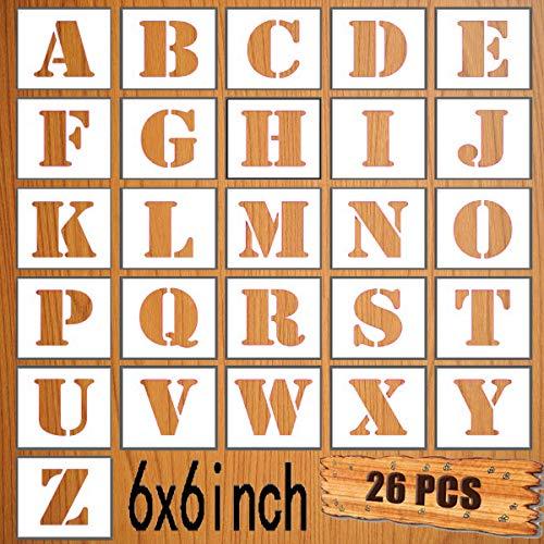LYPER Juego de plantillas de letras de 15 x 15 cm, 26 unidades de plástico reutilizables, plantillas de aprendizaje para pintar paredes de madera, decoración del hogar, manualidades, nombre familiar