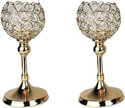 Jilin Conjunto de 2 castiçais de cristal – suporte de candelabro decorativo para mesa de centro, Natal, casamento, jantar,...