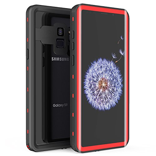 Fansteck Samsung Galaxy S9 Waterproof Case, IP68 Waterproof/Snowproof/Shockproof/Dirtproof, Full-Body Protective Case with Built-in Screen Protector for Samsung Galaxy S9 (5.8 inch-Black/Red)