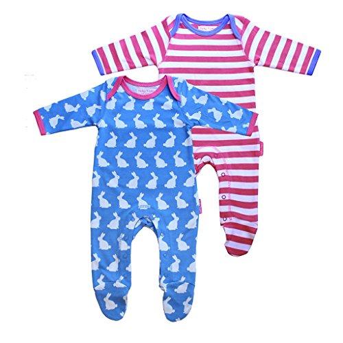 Toby Tiger 100% Organic Cotton 2 Pack Bunny and Stripe Printed Sleepsuit with Feet. Combinaison, Multicolore-Bigarré, 3-6 Mois (Lot de 2) Bébé Fille