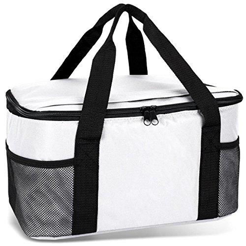 noorsk Kühltasche 20 Liter Einkaufstasche Strandtasche Picknicktasche Kühlbox Picknickkorb in vielen Farben - Weiß