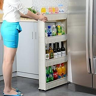 Inditradition 4 Layer Slim & Sleek Multi Storage Organizer Rack Trolley for Dining, Kitchen, Bathroom (54x12x100 cm, Whit...