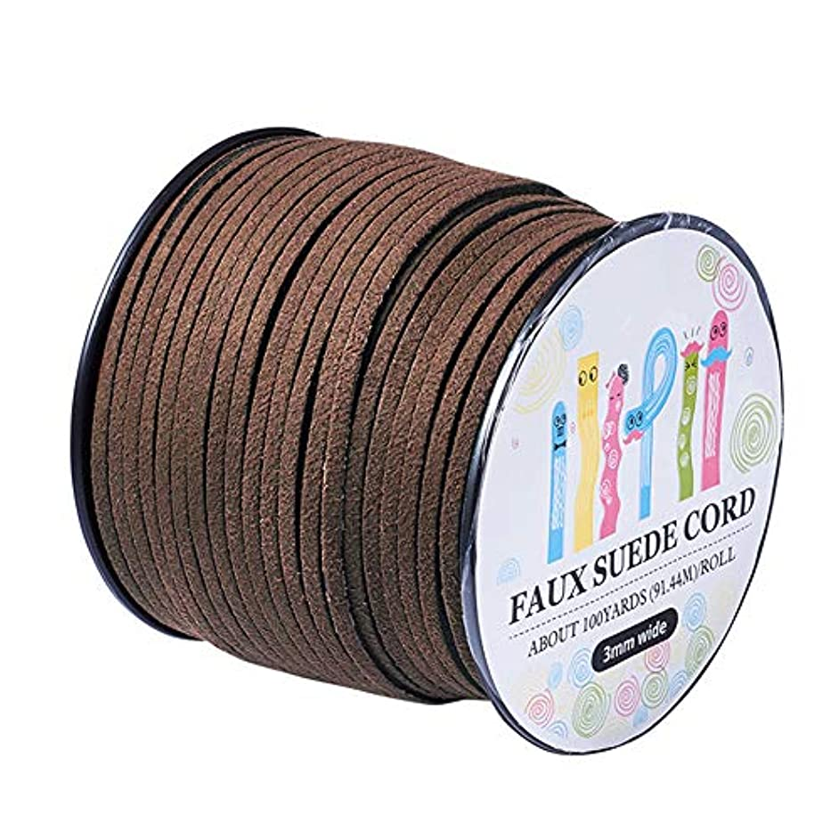 Pandahall 98Yard 90m/roll 3x1.4mm Faux Suede Cord String Leather Lace Beading Thread Suede Lace Double Sided with Roll Spool 295feet CoconutBrown