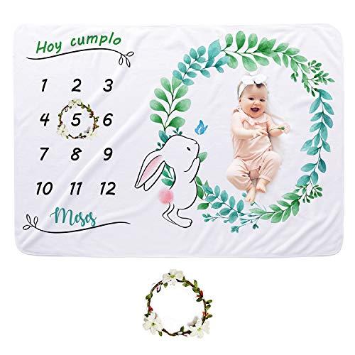 CBOO Manta Mensual de Hito Suave Manta Fotografia Unisex Manta Meses Personalizada Regalos originales para Bebés Recien Nacidos (Conejo: 150cm * 100cm)