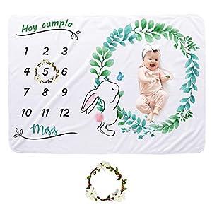CBOO Manta Mensual de Hito Suave Manta Fotografia Unisex Manta Meses Personalizada Regalos originales para Bebés Recien…