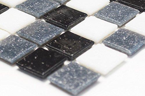 Mosaik-Netzwerk Mosaikfliese Quadrat mix weiß/grau/schwarz Glasmosaik mit Effekt Spots Fliesenspiegel, Mosaikstein Format: 20x20x4 mm, Bogengröße: 327x305 mm, 1 Bogen/Matte