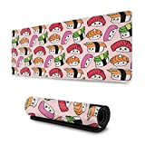 Kawaii Sushi Gaming Mouse Pad XL, Extended Large Mouse Mat Desk Pad, Stitched Edges Mousepad, Long Non-Slip Rubber Base Mice Pad, 31.5 X 11.8 Inch