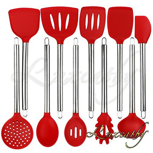 Ensemble d'ustensiles de cuisine en acier inoxydable 304 et en silicone, 10 pièces avec cuillère, outils pour spatule, pelle à pâtes, Louche, Passoire pour Pots (Rouge)
