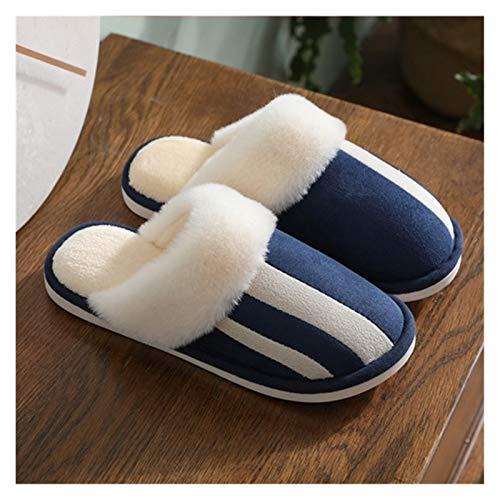 XINSHENG Store Zapatillas de Piel de Las Mujeres de Invierno Casa Zapatos Plush Caliente Mujer Zapatillas for Plana Cubierta con tamaño 4,5-12 Home Goods intimidad (Color : Azul, Shoe Size : 8.5)
