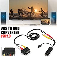 Flickering USB 2.0 VHS to DVD Video Capture/Converter/DVD Maker Kit,Audio Video Capture Card, Video VHS VCR TV AV to Digital Converter for Windows 10, 8.1, 8, 7, Vista & XP Connected