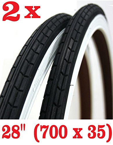 OFFERTA - 2 x Copertone per bicicletta Misura 28 x 1 5/8 - 1 3/8 (700 x 35) Bianco / Nero ideale bici City Bike donna uomo