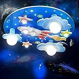 LED Lampada Camerette Bambini Universe Star Lampada Da Soffitto Cartoni Animati Plafoniera Rotonda Ragazzi E Ragazze Plafoniere Tricolore Oscuramento Camera Da Letto Illuminazione Lampadario