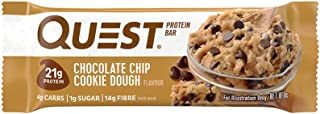 Quest Nutrition Chocolate Chip Cookie Dough Flavour Protein Bar, High Protein, Gluten Free, Keto Friendly, 12-Count