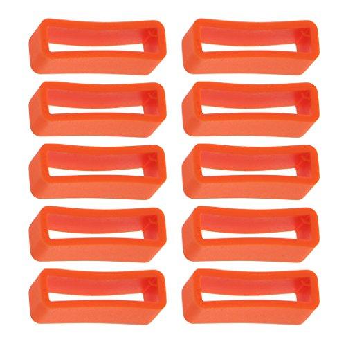 MagiDeal 10 Stück Ersatz Gummi- Silikon Schlaufe Schnalle Halter für Uhrenarmbänder 28mm - Orange