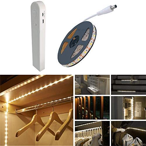 Wonsung 60LED 1m tira luz cuerda,Luz Armario Luz LED Nocturna con Sensor de Movimiento para Pasillo Baño Armario Cocina,Batería recargable incorporada de 600 mAh[4000K Blanco cálido ]