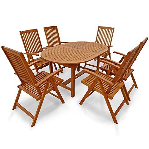IND-70310-SSSE7 Gartenmöbel Set Garnitur Sun Shine, Garten Garnitur Sitzgruppe aus Holz - 7-teilig - Tisch ausziehbar + 6 x Stuhl klappbar