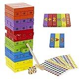 Txkkids Torre Bloques de Madera Infantil,Juego de Mesa Divertido, Educativo a Partir de 3 Años, Numeros en Ingles ,Incluye 3 Sticks para Numerar Las Piezas.