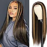 YEESHEDO Pelucas mujer peluca larga recta Marrón oscuro con reflejos rubios pelo natural rayita de encaje natural afro brasileña negro parte media lace hairline 26 pulgadas