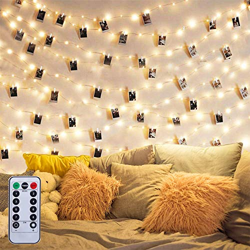 MILIWAN Photo Clip String Lights with Remote Control,10M 100LED Photo Peg Fairy Lights with 50 Clips Battery Powered for Hanging Photos, Photo Frame Lights for Decoration Wedding Party Christmas