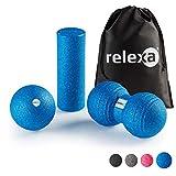 relexa® Fascia Set Mini, Kit de Entrenamiento Completo del Cuerpo de 3 Piezas, con Rodillo de Masaje, Bola Doble e Individual de Auto-Masaje, Contiene un eBook, (Azul)
