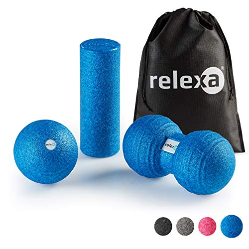 relexa Faszien Set Mini, 3-teiliges Ganzkörper Trainingskit, mit Faszienrolle, Twinball & Faszienball, flächige und punktuelle Selbstmassage, inkl. Faszien-eBooklet, in Blau