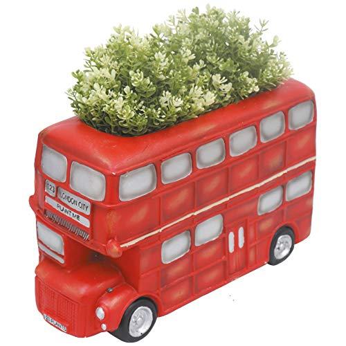 Primus London Red Double Decker Bus Planter Garden Ornament